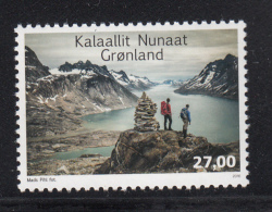 Greenland MNH 2016 27k Hikers On Mountain Top Next To Cairn Overlooking Inlet - Groenland