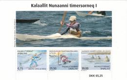Greenland MNH 2016 Souvenir Sheet Of 3 Skiing, Kayakers - Sports - Groenland