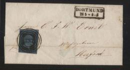 """Preußen - MiNr. 3 Als EF Auf Brief - Gelaufen Mit Nummernstempel """"337"""" Dortmund 24.5.1857 - Preussen"""