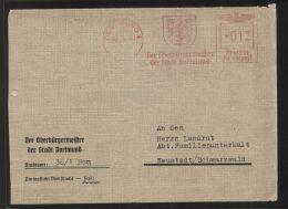 """Dt. Reich - Fernbrief Mit Absender-Freistempel """"Der Oberbürgermeister Der Stadt Dortmund"""", Gelaufen 10.3.1944 - Deutschland"""
