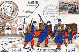 50e Anniversaire Bataille De La Marne - Départ Des Taxis, Beau Timbre - Weltkrieg 1914-18