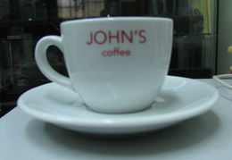 AC - JOHN'S COFFEE PORCELAIN CUP & SAUCER FRENCH COFFEE FROM TURKEY - Cups