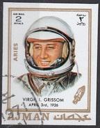 "790 Ajman 1971 Virgil Ivan ""Gus"" Grissom Astronauta (1926-1967)  - Zodiaco Aries Ariete -  Imperf. Zodiac - Astrologia"