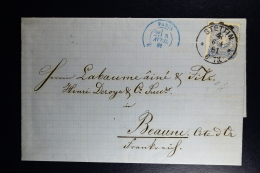 Germany  Complete Letter  Stettin -> Paris -> Beaune France  1881 Wax Seal - Germany