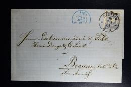 Germany  Complete Letter  Stettin -> Paris -> Beaune France  1881 Wax Seal - Deutschland