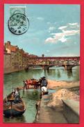 Firenze. Operai Con Barca E Carro. Lavori Sulla Riva Dell'Arno Vicino Al Ponte Vecchio . 1914 - Firenze (Florence)