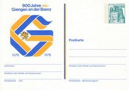 PP 100/94** 900 Jahre Giengen An Der Brenz 1078 -1978 Abb: Einhorn,Buhstabe G Als Zweifarbiges Bild - Privatpostkarten - Ungebraucht