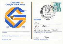 PP 100/94 900 Jahre Giengen An Der Brenz 1078 -1978 Abb: Einhorn,Buhstabe G Als Zweifarbiges Bild - Privatpostkarten - Gebraucht