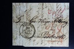 France:  Complete Lettre  Bayonne -> T.T. Hamburg -> Lubeck C.F.5.R  1834 - 1801-1848: Precursori XIX