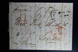 Lettland Russian Period.: Complete Letter Riga  1845 To London Via Hamburg Taxin Red Oval  Wax Sealed - Lettland