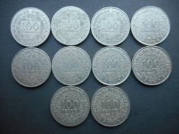West African States 100 Francs 1967-1997 (Lot Of 10 Coins) - Monnaies