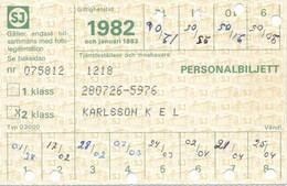 Schweden 1982 Eisenbahn Personalbillett 2. Klasse Lokomotive - Eisenbahnverkehr