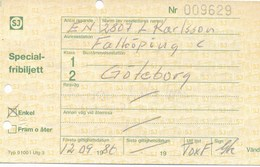 Schweden Göteborg 1986 Eisenbahn Spezialfreibillett 2. Klasse Enkel Lokomotive - Eisenbahnverkehr
