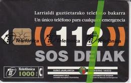 CP-137  TARJETA DE ESPAÑA DE 112 SOS DEIAK DE TIRADA 60000 (NUEVA-MINT CON BLISTER)  ¡¡BAJO FACIAL!!