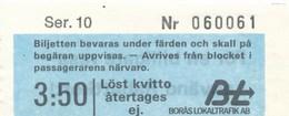 Schweden Fahrkarte Eisenbahn Boras Lokaltrafik AB - Eisenbahnverkehr