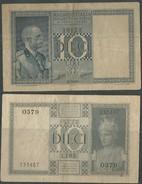 Italy Kingdom 10 Lire 1935 Banknote P-25a Banknote - Dieci Lira Regno D' Italia Biglietto Di Stato - [ 1] …-1946 : Kingdom