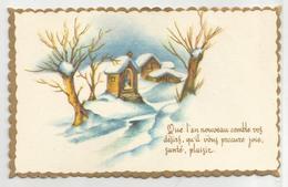 Mignonnette. Bonne Année. Chapelle Et Maison Dans La Neige. Dorée. - Nouvel An
