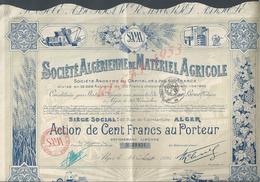 ACTION DE 1925 SOCIÉTE ALGÉRIENNE DE MATÉRIEL AGRICOLE À ALGER : - Agriculture