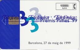 P-384 TARJETA DE ESPAÑA DE PREMIS PIMES'99 DE 1000 PTAS TIRADA 2800    NUEVA-MINT CON BLISTER ¡¡VALOR FACIAL!!