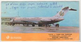 CYPRUS TURQUIE,TURKEI TURKEY CYPRUS TURKISH AIRLINES 1979-1980 WINTER TIMETABLE - Timetables