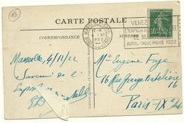 10c SEMEUSE VERT SUR CP FLAMME FLIER MARSEILLE GARE VENEZ VISITER L'EXPOSITION COLONIALE DE MARSEILLE AVRIL NOVEMBRE 192 - Marcofilia (sobres)