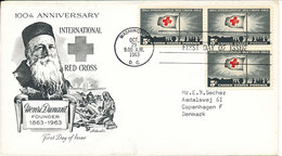 USA FDC Washington 29-10-1963 100th Anniversary RED CROSS With Cachet And Sent To Denmark - Croix-Rouge