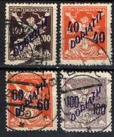 CECOSLOVACCHIA - 1927 - SOVRASTAMPATI IN VIOLETTO - VIOLET OVERPRINTED - USATI - Segnatasse