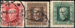 CECOSLOVACCHIA - 1925 - EFFIGIE DEL PRESIDENTE MASARYK - NUOVO DECORO LATERALE- USATI - Czechoslovakia