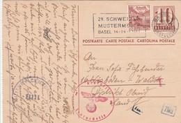 Suisse Entier Postal Censuré Pour L'Allemagne 1945 - Entiers Postaux