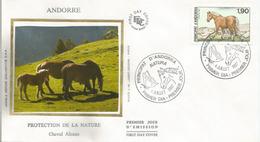 ANDORRA . Chevaux Sauvages Sur Les Hauts Plateaux En Andorre. FDC - Paarden