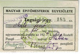 Ungarn / Hungary - Mitgliedskarte Baumeisterverein / Member Card Master Builder # 1929 (OL842) - Historische Dokumente