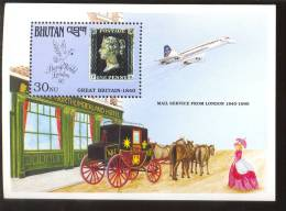 MNH BHUTAN # 910 : SOUVENIR SHEET STAMPS OLD STAMPS ; PENNY BLACK ; POSTAL HISTORY ; AIRPLANES ; HORSES - Bhoutan