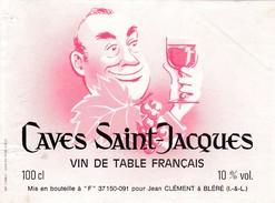 Etiketten Van Wijnflessen : CAVES SAINT JACQUES   ( 2 ) Jean Clément  à Blere - Wine