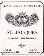 Etiketten Van Wijnflessen :  SAINT JACQUES  Qualité Superieure - Wijn
