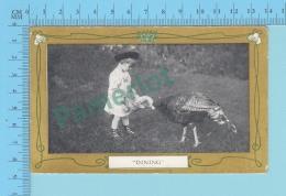 Canada  -Dinning ,turkey, Dinde Enfant, Christmas Gerrting Card # 9, Used In 1924.-  2 Scans - Enfants