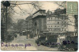 - 194 - Paris -  Le Boulevard  Et La Place St Martin, LIP, Craquelure Dans Le Centre, Automobiles, Scans.. - Arrondissement: 11