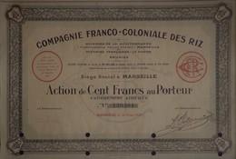 Cie FRANCO-COLONIALE DES RIZ, Action De 100 Francs Au Porteur - Landbouw