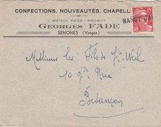 Enveloppe Commerciale Georges FADE / Confection / 88 Senones Vosges / Griffe Horizontale Nancy-Gare - Other