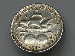 1893 Silver Half Dollar Chicago Worlds Fair Columbian Exposition Expo Coin  **** EN ACHAT IMMEDIAT **** Monté En Broche - Etats-Unis