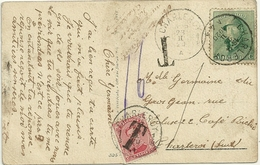 CARTE POSTALE DE CHARLEROY AVEC 5c ALBERT 1ER CASQUE ET 10c ALBERT 1ER DE 1915 Yt18 UTILISE COMME TIMBRE TAXE EN 1920 - Bélgica