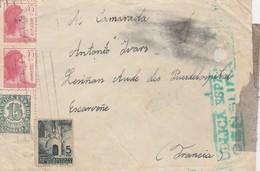 ESPAÑA 1938 Carta   Desde Barcelona   115  Bateria Jefatura   D.EC.A Hasta  LEZIGNAN     EL522