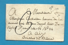 """Basses Alpes - Riez Pour Aix. LSC Avec MP """"5/ RIEZ"""" Et Cachet D'arrivée D'AIX. Indice 9 - Postmark Collection (Covers)"""