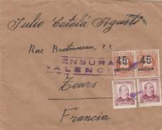 ESPAÑA 1938  Carta   54 Division  180 Brigada   Base Turia N° 1   Hasta  Francia    EL525