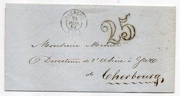 1854--lettre De ALENCON-61  Pour CHERBOURG-50--cachets--nombre 25 - 1849-1876: Classic Period
