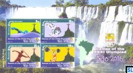 Sri Lanka Stamps, Olympic 2016, Rio Olympiad, Christ The Redeemer, Iguazu Falls, MS - Sri Lanka (Ceylon) (1948-...)