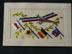 Jolie Carte Brodée   Drapeaux  Avion   1915 - Brodées