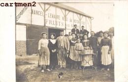"""CARTE PHOTO NOYON OU SARCELLES-SAINT-BRICE """" NANCEL-LEMAIRE NEGOCIANT FRUITS EN FROS FRUITERIE USINE FERME MOREL TRACY - Nogent Sur Oise"""