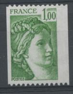 FRANCE -  1F00 Vert SABINE N° ROUGE AU DOS-  N° Yvert 1981Aa** - 1977-81 Sabine Van Gandon