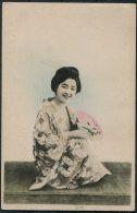 Japan Geisha Kimono Fan Postcard - Asia