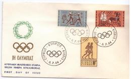 FDC - CIPRO - ANNO 1964 - CYPRUS KIBRIS - OLIMPIADI DI CIPRO 1964 - KYTPIAKH OIAOTEAIKH ETAIPIA - TIPOTH HMEPA KYKAOOOP - Autres